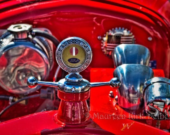 Old red car, Model T Ford, radiator top,  antique car, vintage, red Ford, hot rod, classic car photo, man cave, man gift, car show photo