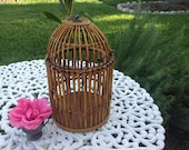 Vintage Bamboo Rattan Birdhouse Sweet Bamboo Rattan Birdhouse / Bamboo Bird Cage 17 Inches tall / Bohemian Cottage Style at Retro Daisy Girl