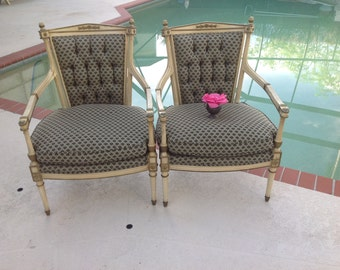 Vintage HOLLYWOOD REGENCY STYLE Arm Chairs / Pair of Chairs with Acorn Detail / tufted backs at Retro Daisy Girl