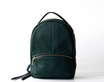 Leather Backpack OPELLE Baby Kanye Back Pack purse in Emerald dark green