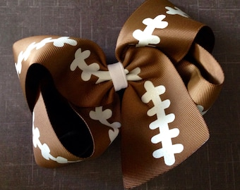 Football Brown Big 6 Inch Twisted Boutique Bow