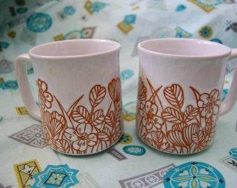 Orange Floral Mugs