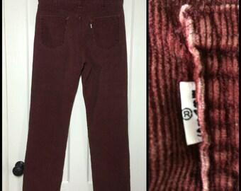 Vintage 519 Levis Corduroys 34x32 Burgundy red corduroy jeans  pants 34 inch waist Talon zipper #1570