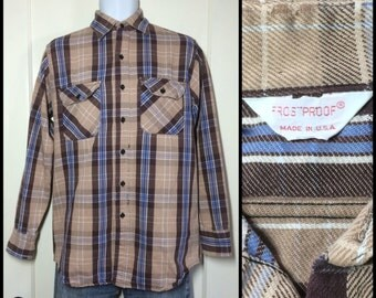 distressed 1970's Frost Proof Heavy Flannel Plaid Shirt size Medium Tan Brown Blue white all cotton made in USA frostproof