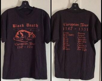 Vintage 1990's Black Death European Tour T-shirt looks size Large all cotton Rat Humor