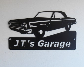 1964 Dodge Coronet 440 Personalized Man Cave Classic Garage Sign Satin Black Mopar