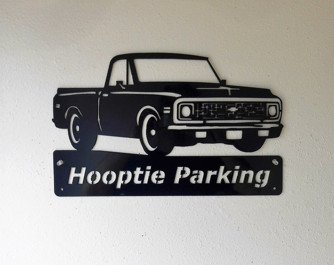 Classic 1971 Chevrolet Truck Personalized Man Cave Wall Decor Garage Sign Satin Black