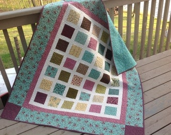 Simply PRINTS CHARMING 54x60 quilt in purple, teals, olive, cocoa