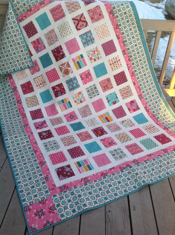 RESERVED Simply DOMESTIC BLISS 63x87 quilt in pink and turquoise