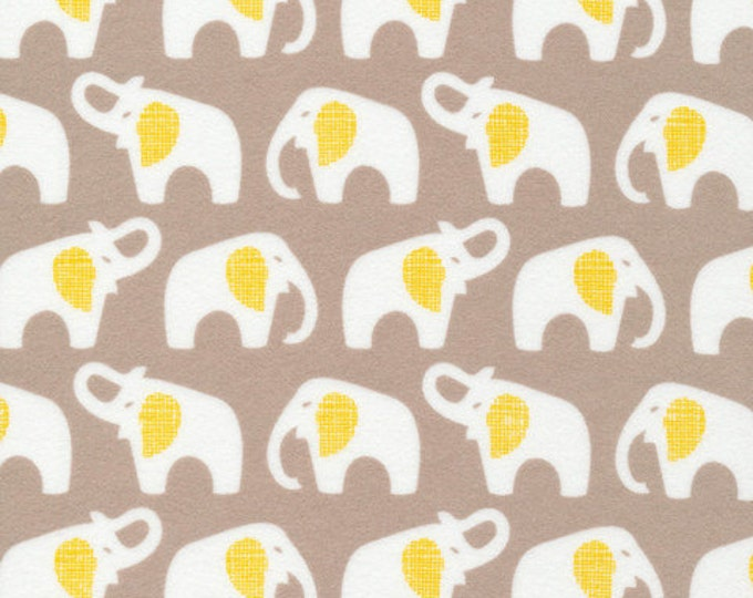 Organic FLANNEL Fabric - Cloud9 Flannel - Elephants Gray