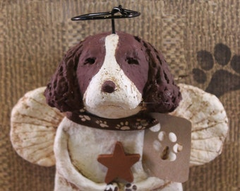 Springer Spaniel Angel,OOAK, hand-sculpted from papier mache,Springer Angel