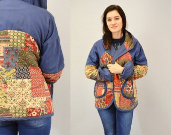 Hippie jacket 70s Patchwork quilted  folk festival hoodie hooded 1970s blue colorful IngridIceland Large