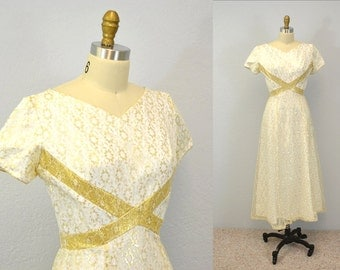 60s lace gown prom dress Emma Domb evening fancy cream with gold glamour 1960s IngridIceland