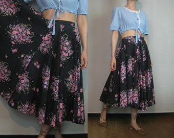 40s FULL CIRCLE Vintage Black Pink Mauve Green Cotton Floral High Waisted Pleated Midi Skirt xs Small 1940s