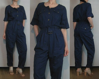 80s COTTON NAVY JUMPSUIT vtg Blue Belted Short Sleeves Button Down Shirtwaist Tapered Legs Pockets Small 1980s