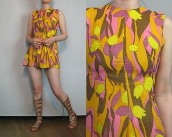 60s Floral MINI Dress 60s Mod Mini Dress 60s Cotton Floral Dress 60s Orange Mini Dress Orange Floral Dress Orange Cotton Mini Dress
