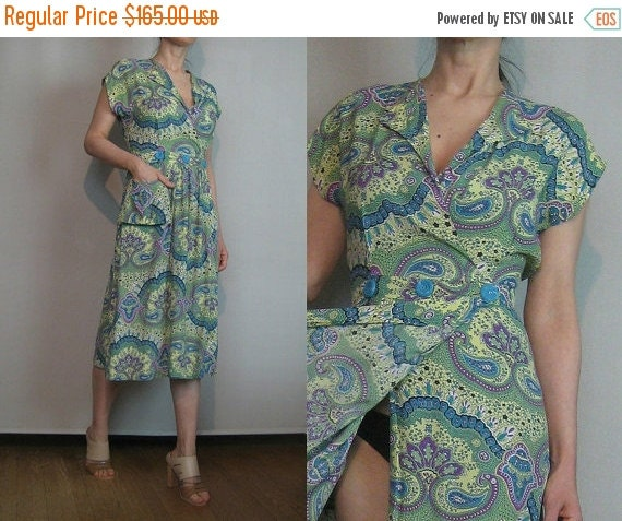 SUMMER SALE 30s 40s TRUE Wrap Damask vtg Paisley Green Lavender Purple Cream Turquoise Rayon Midi Dress with Pocket xs/s Small s/m 1930s 194