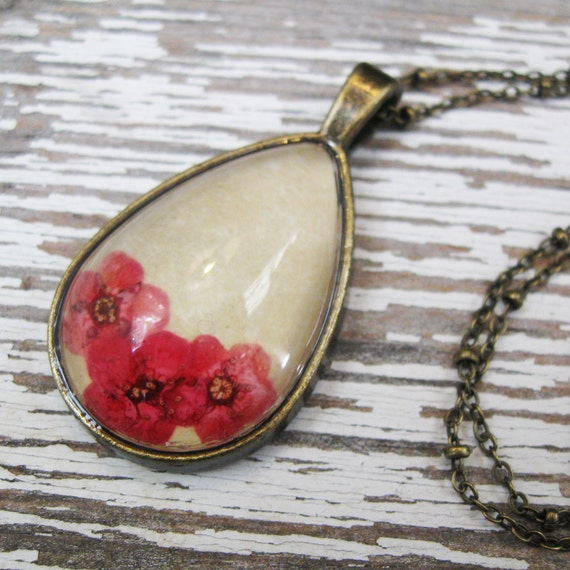Real Pressed Flowers Teardrop Necklace - Pink Spring Flowers in Antique Brass