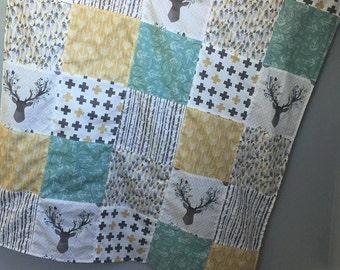 Baby Quilt- Woodland Nursery- Baby Blanket- Antler Blanket- Crib Quilt- Woodland Baby