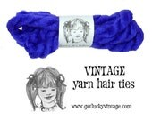 Purple Yarn Hair Ties, Vintage 1970's Yarn Hair Ribbons, Christmas Gift For Girls, Stocking Stuffer