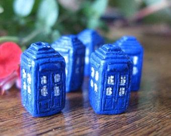 4 Small Tardis Beads - Doctor Who -