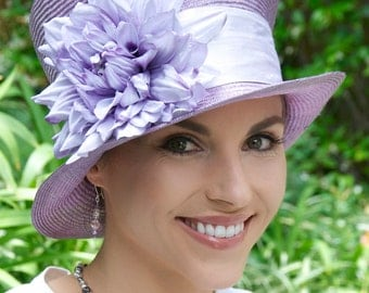 Formal Straw Hat, Women's Lavender Straw Hat, Wedding Hat, Church Hat, Tea Party Hat, Downton Abbey Hat, Mad Hatter Cloche, Hat with Flowers