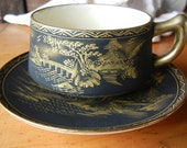 Vintage Matte Black and Gold SATSUMA Mount Fuji Tea Cup and Saucer Soko made in occupied Japan Hand painted