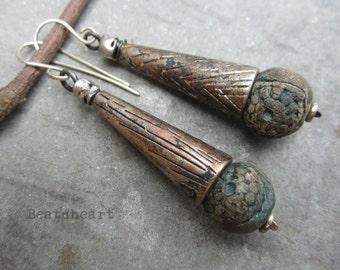 Last Dance in Deadwood dangle earrings rosary beads boho rustic grungy assemblage jewelry