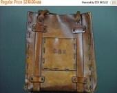40% OFF Vintage Leather Bag Tote Huge Laptop Rugged Primitive Handmade Laced Carry All Monogrammed