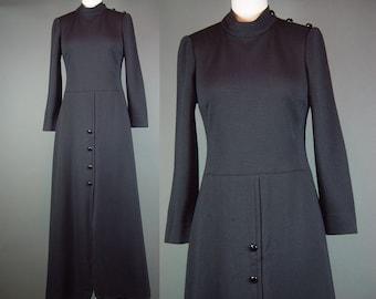 60s Maxi Dress Vintage 1960s Black Double Knit Gino Paoli Designer Italy Italian Double Knit S M