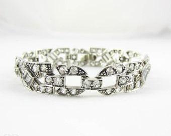 Art Deco Paste Bracelet, Silver & Diamanté Round and Baguette Cut Rhinestone Bracelet, Circa 1930s.