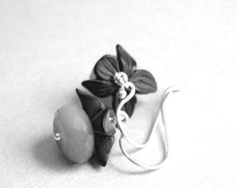 Earrings / Gemstone Earrings / Labradorite Stones / Vintage Lucite Flowered Leaves / Sterling Silver Ball Hoops / Boho Chic Jewelry