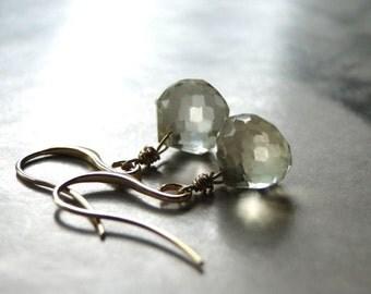 Lemon Quartz Faceted Gemstone Earrings, Drop Earrings, Accessories, Earrings, Gift for Her, 14k Gold Filled Earrings