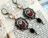Bella Notte Rosa, Vintage Black Floral Italian Glass Micro Mosaic, Vintage Blush & Jet Rhinestones ,Assemblage Earrings