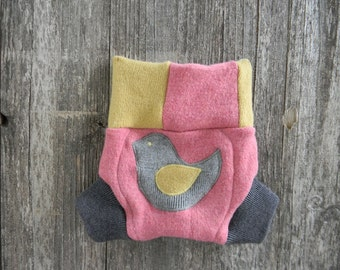 Upcycled Merino Wool Soaker Cover Diaper Cover With Added Doubler Pink,Yellow,White And  Gray With Birdy Applique SMALL 3-6M Kidsgogreen