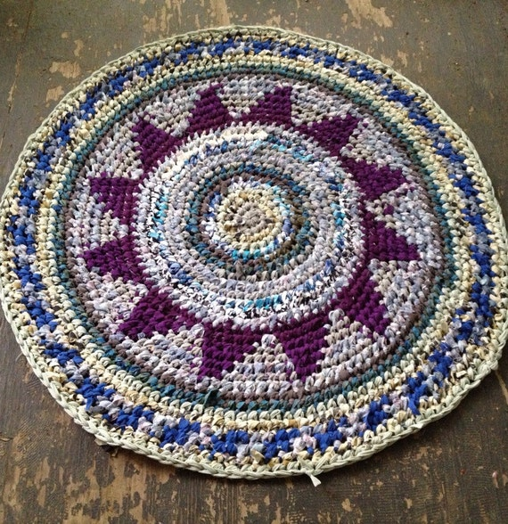 Purple Turquoise Rag Rug: Purple & Blue Rag Rug By BraveHandTextiles On Etsy