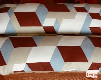 3-D Cubes, Geometric, Tan Blue Brown, Bunbed Dachshund Dog Bed, Small Breed Dog Bed - Futuristic Hot Dog Bed
