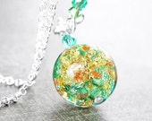 Sea Green Murano Glass Necklace Sterling Silver Necklace 24k Gold Venetian Glass Necklace Silver Chain Gold Green Pendant Necklace Jewelry