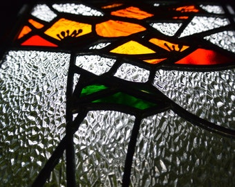 Stained Glass California Poppies Panel - Window Suncatcher