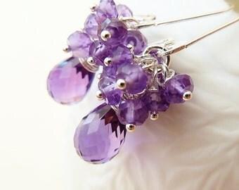 Amethyst silver earrings. Purple Amethyst. Amethyst drop earrings. February birthstone. Amethyst cluster. Mother's day gift