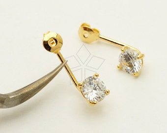 EA-177-GD / 2 Pcs - Ear Jackets (6mm Single CZ Stone), for Ear Cuffs and Front Back Earrings, Gold Plated over Brass / 19mm