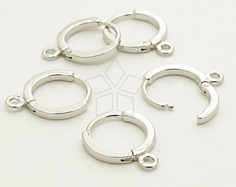 EA-082-OR / 8 Pcs - Simple One-Touch Round Earring Findings, Silver Plated over Brass / 12mm