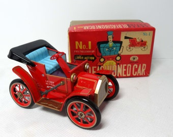 Old Fashioned Car #1 MIB Red with Blue Interior Lever Action Made in Japan Tin Toys and Games Toys Play Vehicles Toy Cars