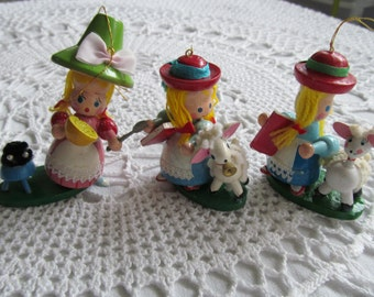 3 Vintage Wooden Christmas Ornaments Little Miss Muffet Mary Had a Little Lamb Nursery Rhymes Wood Rare