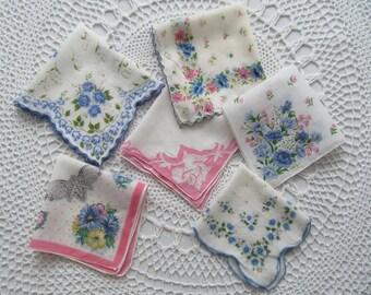 6 Lot Vintage Handkerchief Flowers Floral Print Blue Pink Graphics Hanky Womens Roses