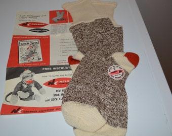 Genuine Rockford Socks unused for Sock Monkey making - supplies - original brochure and pattern