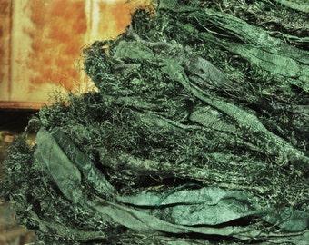 1, 2 or 3 Yards Soft Evergreen Sari Silk Shabby Fuzzy Ribbon Yarn Jewelry Supply Add Pizzazz to Them Creations!