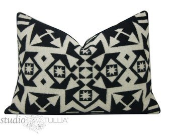 Wool Pillow Cover - black and white - made in Oregon - handmade - Pendleton Wool - 14x20 - ready to ship