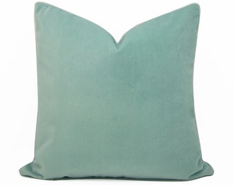 Celadon Pillow Cover - 22 X22 inch -  designer quality - mint - Glacier - heavy weight cotton velvet -  ready to ship