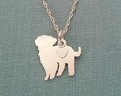 Maltipoo Dog Necklace, Sterling Silver Personalize Pendant, Breed Silhouette Charm, Rescue Shelter